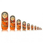 Toolart Set of 10 Piece Hand Paints Green Matryoshka Traditional Indian Nesting Stacking Wooden Nested Dolls Christmas
