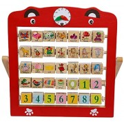 Akrobo Creative Learning Wooden Alphabet Abacus Teaching Frame Educational Toy For Kids