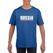 Bellatio Decorations Blauw Rusland supporter t-shirt voor kinderen