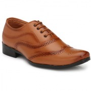 Shoe Rider Men's Tan Synthetic Leather Formal Shoes