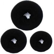 3Pc Hair Donut cum Juda Puff Hair Accessory Set (Black) Bun (Black)