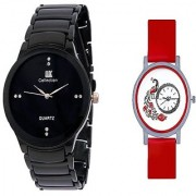 IIK Collection Black Men And Glory Peacock Dial Red PU Analog Couple Analog Watches For Men And Women