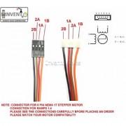 Invento 5pcs 1mtr Nema 17 6pin XH2.54 to 4pin dupont connector stepper motor 3d printer