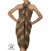 Sexy Animal Print Sarong Beach Coverup Coffee and Cream