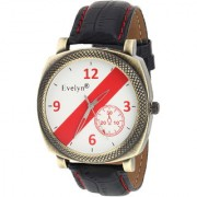Evelyn Round Dial White Leather Strap Quartz Watch For Men EVE-548
