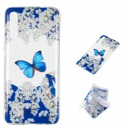 Samsung Blauwe vlinder patroon zeer transparante TPU beschermhoes voor Galaxy A70