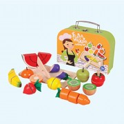 Fruits and Veggies Cutting Set - Wooden Toys - Brainsmith - Early Learning - Life Skills - Pretend Play - Imagination - Role Play toys - Story telling Activity - Creativity building - Kitchen Set - Birthday gift - Return Favour - Play and Learn - Child sa