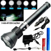 1000 Meter Long Beam 5 Mode Rechargeable Waterproof Metal LED Flashlight Torch Outdoor Lamp Light Searchlight 18W