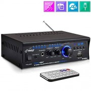 Pyle Bluetooth Mini Stereo Power Amplifier 2x120W Dual Channel Sound Audio Receiver Entertainment w/ Remote, for Amplified Speakers, CD DVD, MP3, Theater via 3.5mm RCA Input, Studio Use PCAU48BT