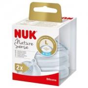 NUK Nature Sense Trinksauger, Brustähnlicher Silikon-Flaschenaufsatz, BPA- frei, 1 Packung = 2 Stück, für Kinder von 6-18 Monaten (L)