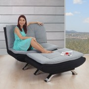 Sessel Lissabon, Loungesessel mit Ottomane, Textil grau/schwarz ~ Variantenangebot