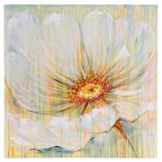 Ölgemälde Weiße Blume, 100% handgemaltes Wandbild Gemälde XL, 100x100cm ~ Variantenangebot
