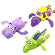 TOYMYTOY 3pcs Baby Bath Toys Swimming Tub Bathtub Clockwork Toy Kid Educational Water Toys Gift( Turtle Hippo Crocodile)