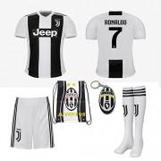Juventus Serie A 2018 19 Ronaldo Dybala Replica Jersey Kid Kit : Shirt, Short, Socks, Soccer Bag and PVC Key (C. Ronaldo, Size 28 (11-12 Yrs Old Approx.))