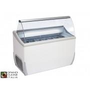 Mondial Framec Grandicucineitalia.it - Attrezzature per ristorazione - Banco Frigo per Gelato - Capacità N°9 Vaschette - Refrigerazione Statica - su Ruote Pivottanti - Colore Bianco - Cod. J9EXTRA - Mondial Framec