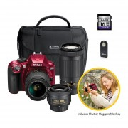 Kit Nikon D3400 Premium Con 3 Lentes + Bolso + SD 16GB Y Mas - Rojo