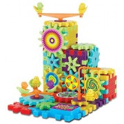 Funny Bricks 81 Piece Gear Building Toy Set - Interlocking Learning Blocks - Motorized Spinning Gears