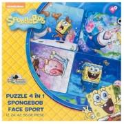 Puzzle 4 in 1 SpongeBob face sport (12 24 42 56 piese)