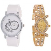 American Diamond Oval Studded Wrist Bracelet Cum Quartz Watch - Women