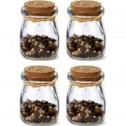 Merkloos 4x Glazen mini voorraadpotjes / kruidenpotjes met kurk 7,5 cm