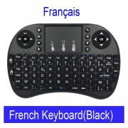 Teclado inalámbrico ruso Mini i8 teclado Inglés hebreo letras Air Mouse táctil Control remoto para Android TV Box Notebook Tablet Pc(#French Negro Color)