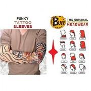 Combo Pack of Arm Tattoo Sleeves 9-Way Headwear Bandana/Buff.