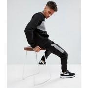 boohooMAN Skinny Tracksuit With Contrast Blocks In Black - Black