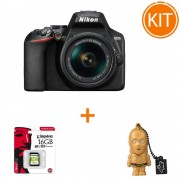 Kit Nikon D3500 AF-P cu Obiectiv 18-55mm VR Negru + Card de Memorie Kingston 16GB + Stick USB Memorie 16gb Star Wars C-3PO