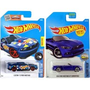 2017 Hot Wheels Mustang 2015 Ford GT Convertible New Model Factory Fresh Blue #104 + Custom '12 Mustang #3 in Protective Cases