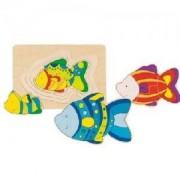 Дървен многослоен пъзел Goki, цветна рибка, 871090