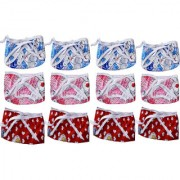 Saashika Baby Cotton Printed Nappies (12pcs) (Color Red Blue Pink) (0-6 Months)