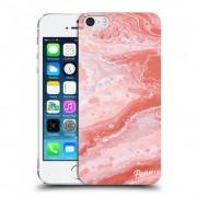 Műanyag átlátszó tok az alábbi mobiltelefonokra Apple iPhone 5/5S/SE - Red liquid