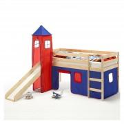 IDIMEX Spielbett BENNY mit Turm+Vorhang blau/rot
