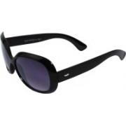 Veins Oval Sunglasses(Black)