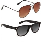 Voyage Aviator, Wayfarer Sunglasses(Brown, Black, Violet)