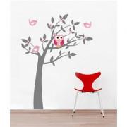 EJA Art Owl Tree Wall Sticker (Material - PVC) (Pec - 1) With Free Set of 12 pec butterflies sticker