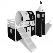 """vidaXL Високо детско легло """"Пирати"""" със стълба и пързалка, бяло дърво"""