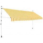 vidaXL vidaXL Copertină retractabilă manual, 400 cm, dungi galben și alb
