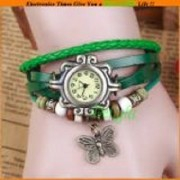 Vintage Watches for Women Leather belt Watch Bracelet brown butterfly
