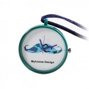 Mykonos design camoo blue orologio da taschino e collana