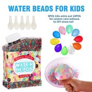 Rainbow Water Beads for Kid with 15 Balloons for DIY Stress Ball, 45000 Beads, Water Jelly Growing Toy Balls Refill Beads for Vase Filler, Wedding Centerpiece, Party Home Decoration, Sensory Activity
