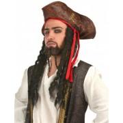 Sombrero pirata con pelo Única
