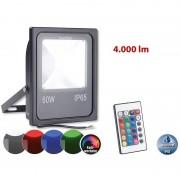 Luminea Wetterfester Fluter, RGB-SMD-LEDs, Fernbedienung, 50 W, 4.000 lm, IP65