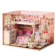 New Wooden Dollhouse Diy Miniature House DIY Kit with Cover for Christmas Gift Dream Angels