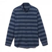 Gestreept regular hemd in zuiver chambray katoen