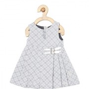 yellow Duck Light Grey Cotton Sleeveless Printed Mid Thigh Length Casual A- Line Dress For Girls