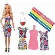 Set papusa Barbie cu haine care se pot colora Barbie Crayola