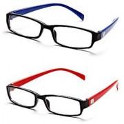 Avoke Blue-Red Frame Rectangle Unisex Eyeglasses - Buy 1 Get 1 Free