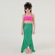 Chica Cola De Sirena Lindo Traje De Baño Bikini Set 3 Piezas Para Nadar Con Sombrero, Tamaño: 130cm (verde)