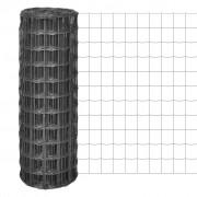 vidaXL Euro Fence kerítés 10 x 1,7 m, 100 x 100 mm szürke acélhálóval